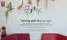 Yarning with Sharyn Egan sign